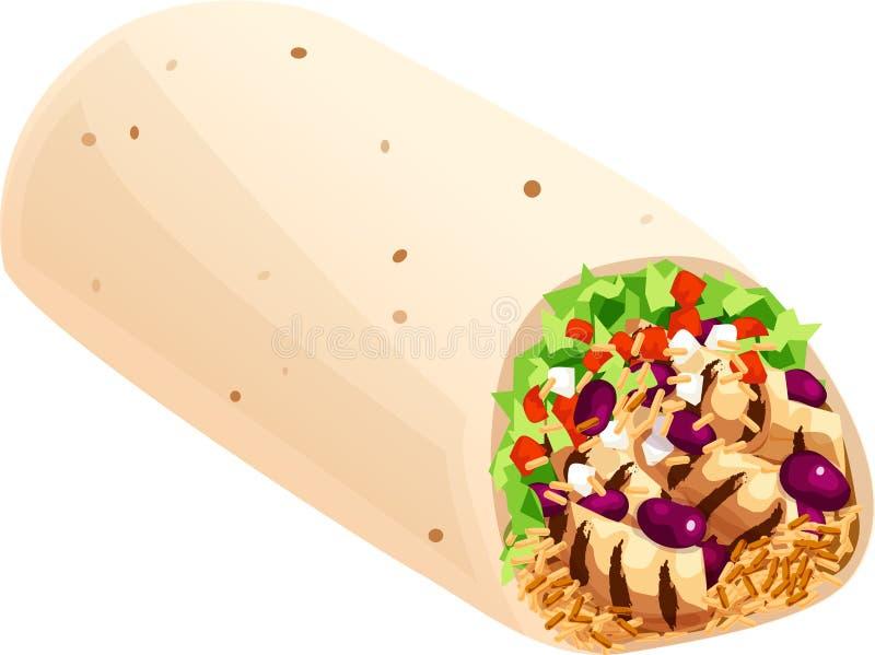 Meksykańskiego Burrito Odosobniona Wektorowa ilustracja ilustracji