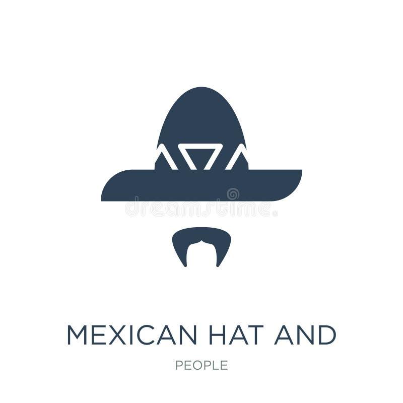 meksykańskiego kapeluszu i wąsy ikona w modnym projekcie projektuje meksykańskiego kapeluszu i wąsy ikona odizolowywająca na biał ilustracja wektor