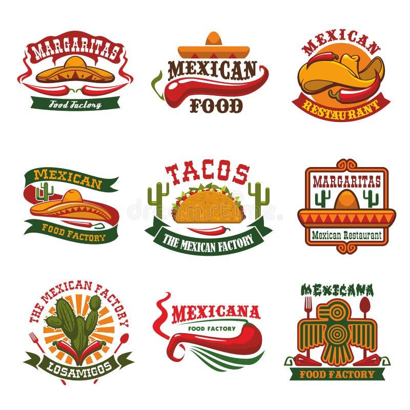 Meksykańskiego kuchnia fasta food emblemata restauracyjny projekt royalty ilustracja