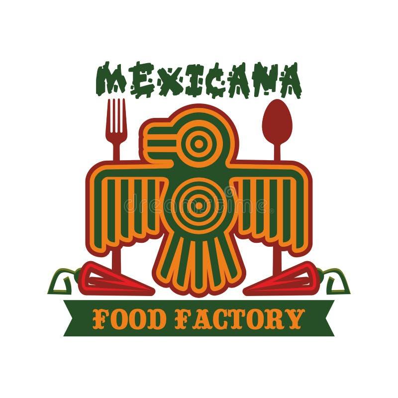 Meksykańskiego restauracyjnego wektoru odosobniona aztec ptasia ikona ilustracji