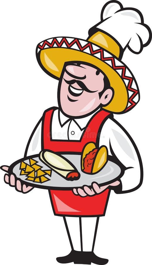 Meksykańskiego Szef kuchni Cook Półkowi Tacos Burrito Kukurudzy Układ scalony ilustracja wektor