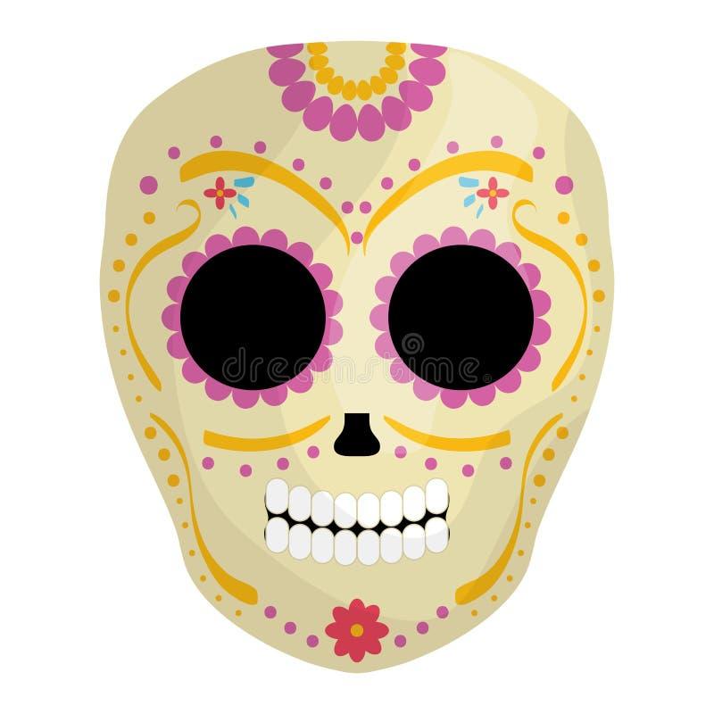 Meksykańskiej czaszki śmiertelna maska ilustracja wektor