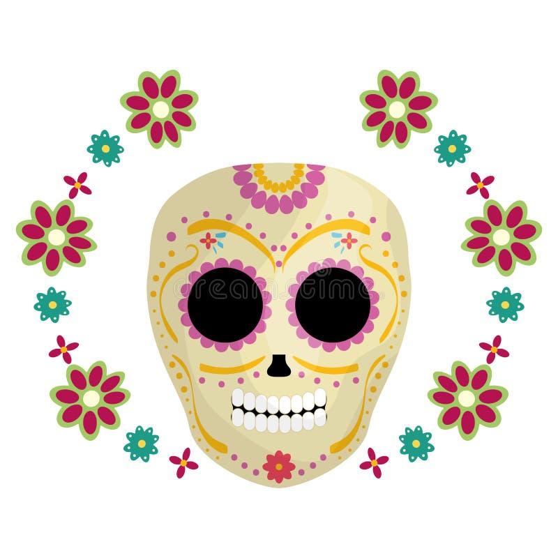Meksykańskiej czaszki śmiertelna maska z kwiatami ilustracja wektor