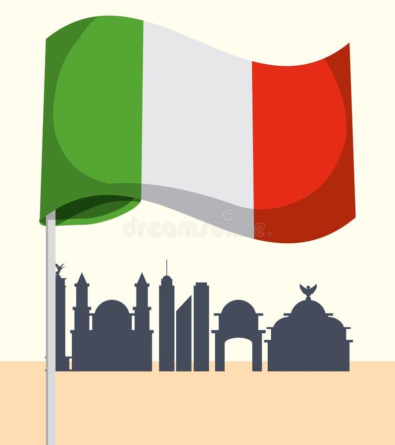 Meksykańskiej flaga projekt royalty ilustracja