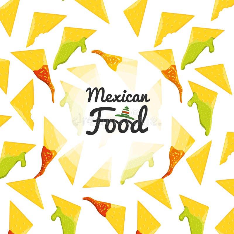 Meksykańskiej karmowej kuchni bezszwowy wzór ilustracji
