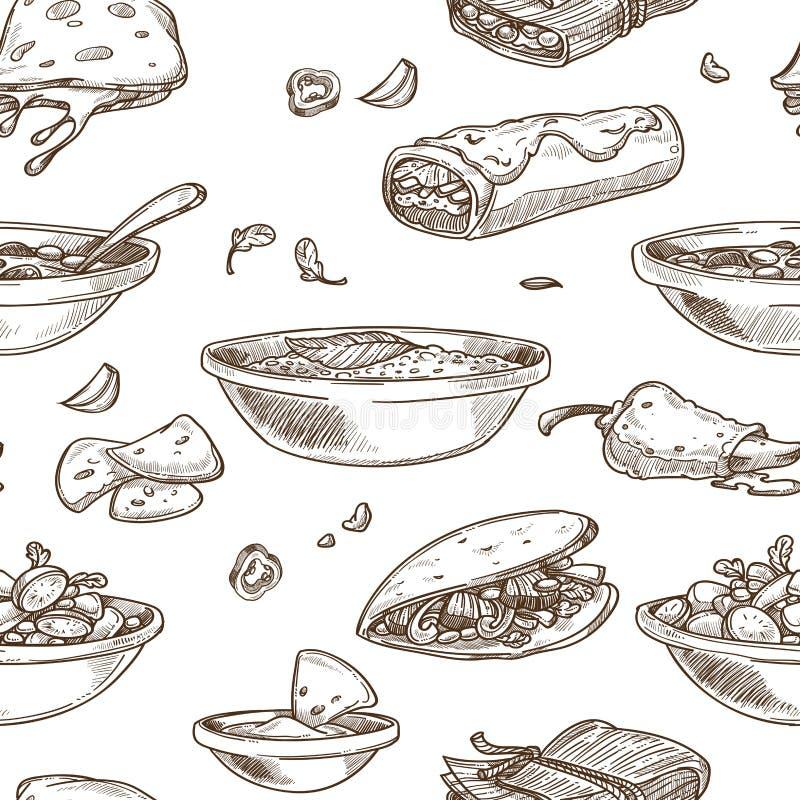 Meksykańskiej karmowej kuchni tradycyjni naczynia kreślą ikonę dla restauracyjnego menu bezszwowego wzoru ilustracja wektor