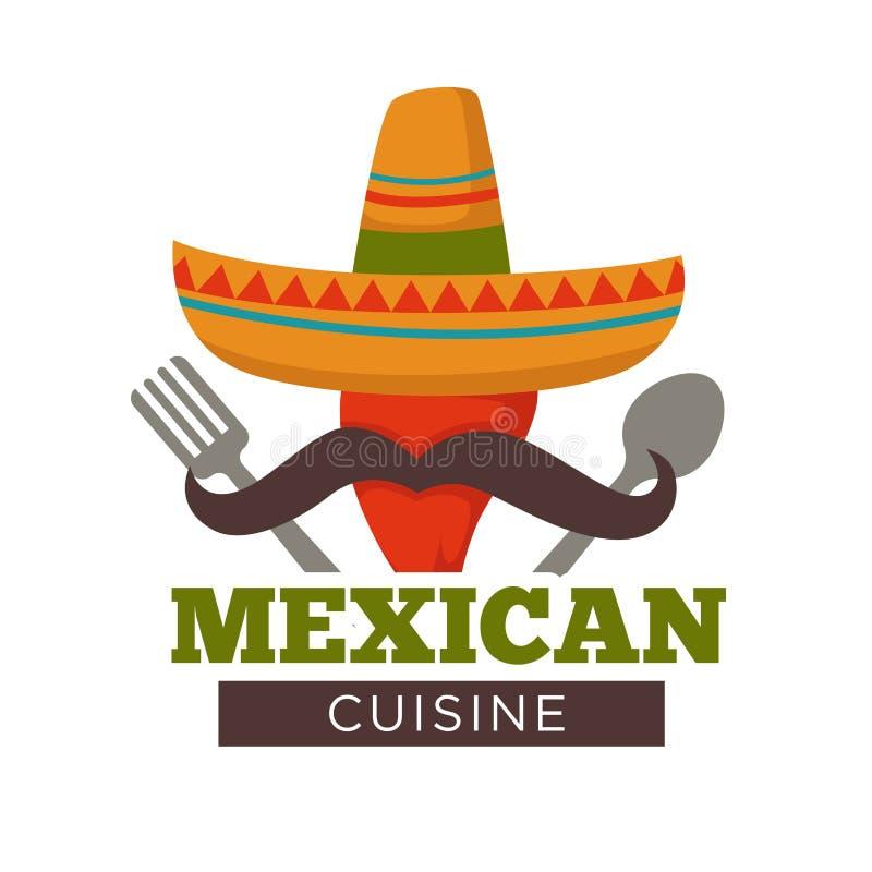 Meksykańskiej kuchni chili o temacie gorący pieprz w sombrero kapeluszu royalty ilustracja