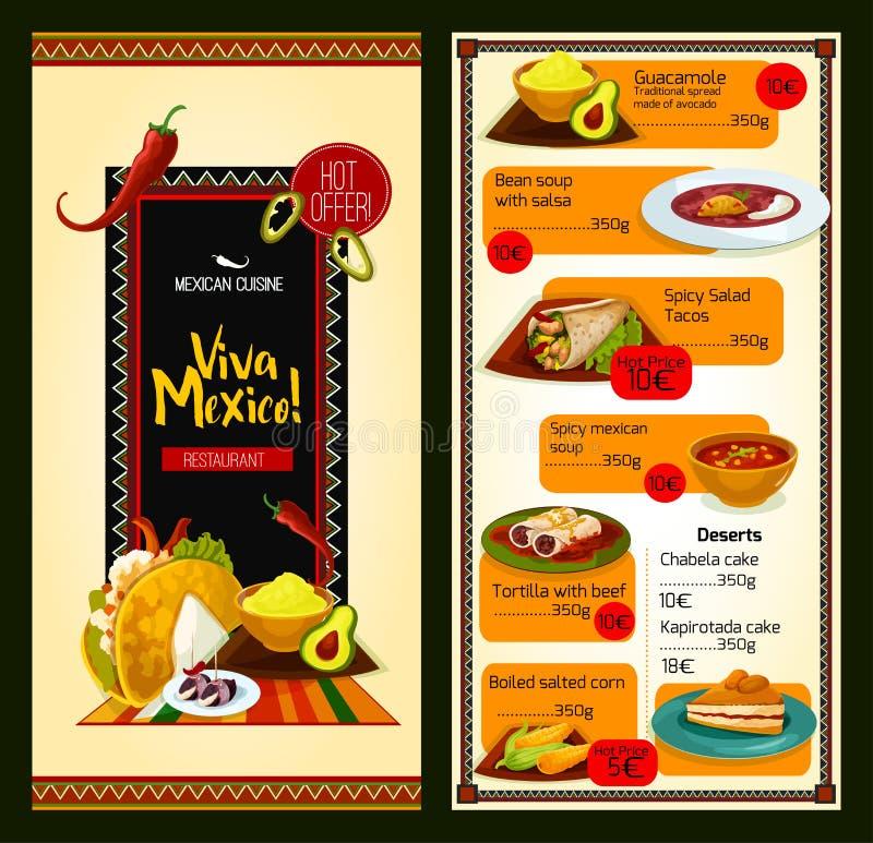 Meksykańskiej kuchni menu restauracyjny szablon royalty ilustracja