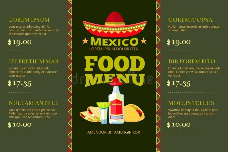 Meksykańskiej kuchni menu wektoru karmowy restauracyjny szablon ilustracji