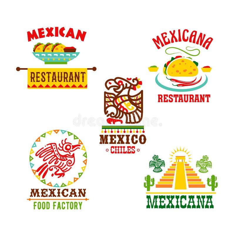 Meksykańskiej kuchni restauracyjne wektorowe ikony ustawiać ilustracja wektor