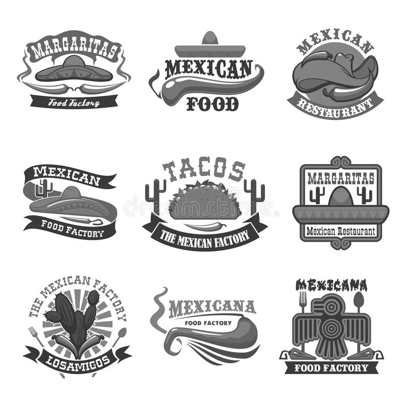 Meksykańskiej kuchni restauracyjne wektorowe ikony ustawiać royalty ilustracja