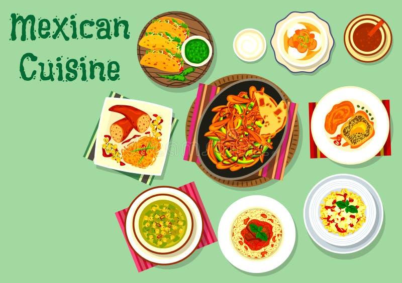 Meksykańskiej kuchni tradycyjna karmowa ikona royalty ilustracja