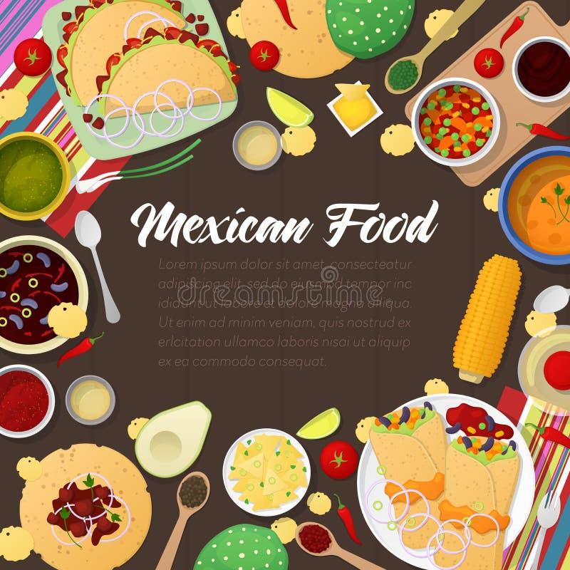 Meksykańskiej kuchni Tradycyjny jedzenie z Tacos ilustracji