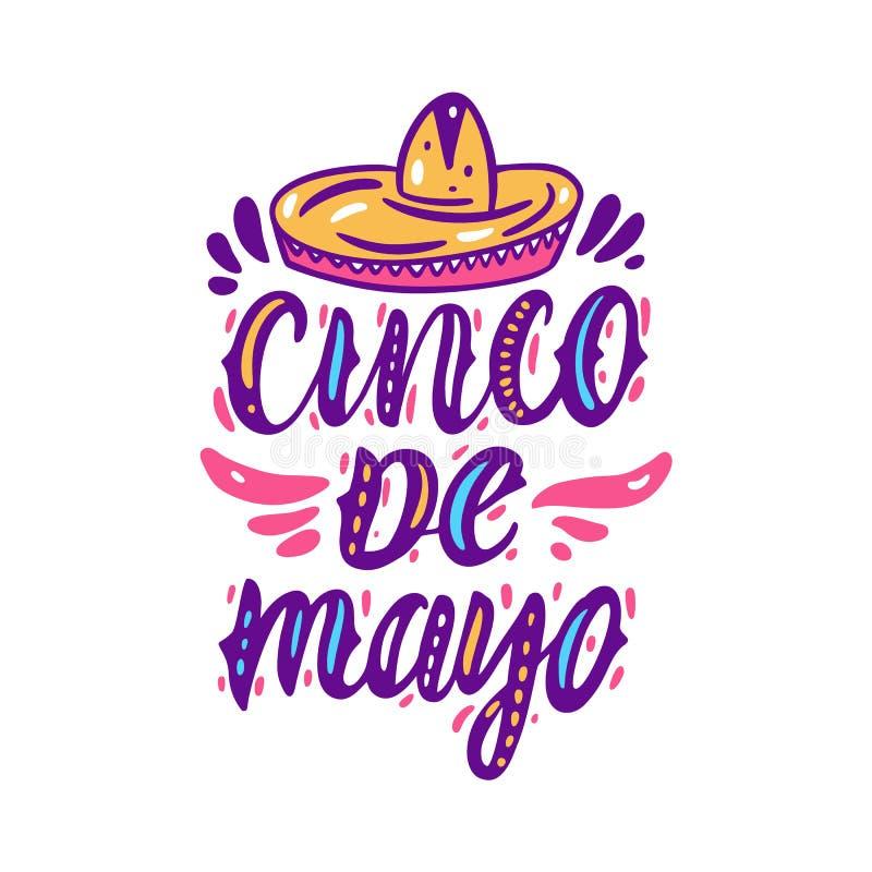 Meksyka?ski wakacyjny Cinco de Mayo R?ka rysuj?cy wektorowy literowanie pojedynczy bia?e t?o ilustracji