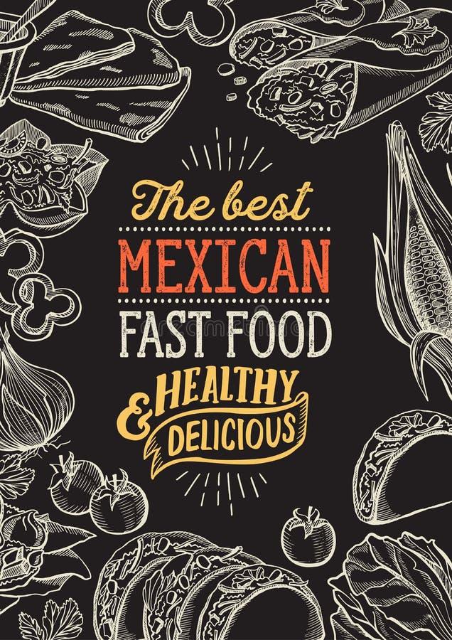 Meksyka?skie karmowe ilustracje - burrito, tacos, quesadilla dla restauracji ilustracji