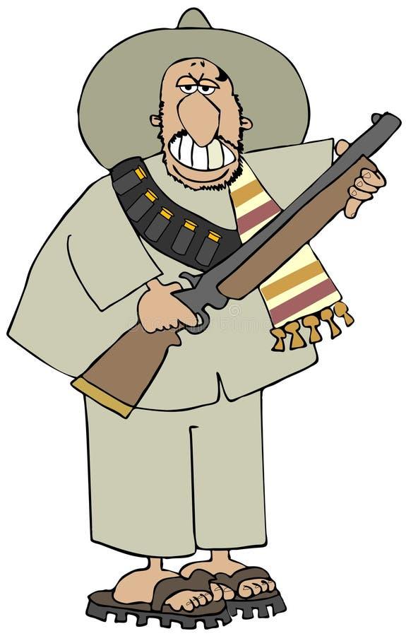 Meksykanin Bandido trzyma jego karabin ilustracja wektor