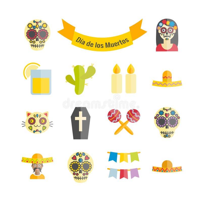 Meksykanin dzień Nieżywe Dia De Los Muertos wektorowe płaskie ikony royalty ilustracja