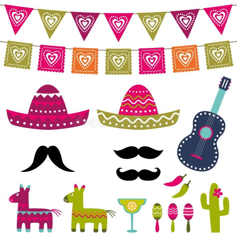 Meksykanin fotografii i dekoraci partyjny budka podpiera wektoru set ilustracja wektor