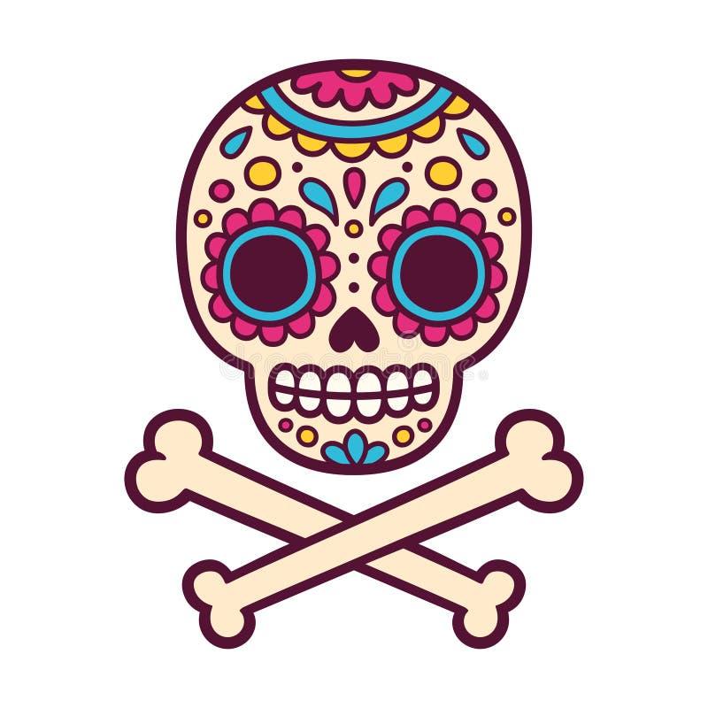 Meksykanin malująca czaszka ilustracja wektor