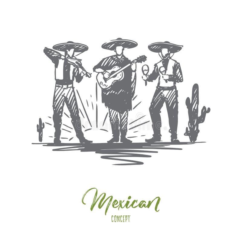 Meksykanin, sombrero, cinco de Mayo, wakacyjny pojęcie Ręka rysujący odosobniony wektor ilustracji