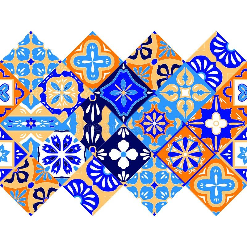 Meksykanin stylizujący Talavera tafluje bezszwową granicę w błękitnej pomarańcze i bielu, wektor royalty ilustracja