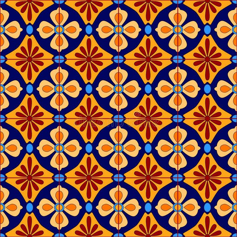 Meksykanin stylizujący Talavera tafluje bezszwowego wzór w błękicie i kolorze żółtym, wektor royalty ilustracja