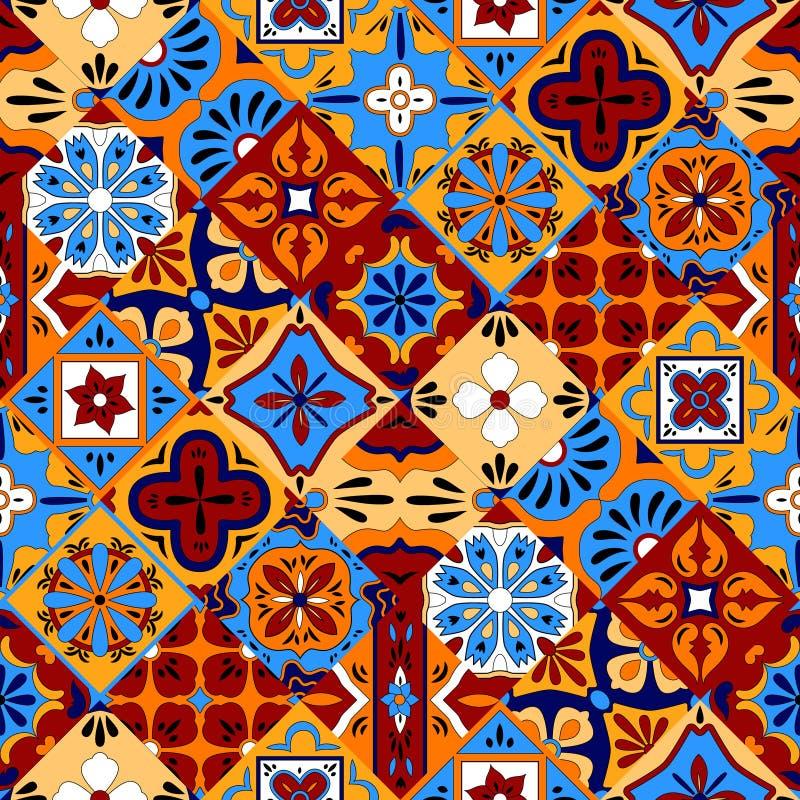 Meksykanin stylizujący Talavera tafluje bezszwowego wzór w błękitnej czerwieni i kolorze żółtym, wektor ilustracja wektor