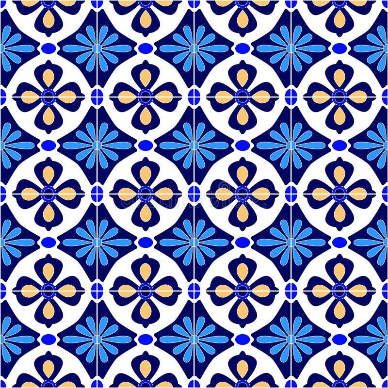 Meksykanin stylizujący Talavera tafluje bezszwowego wzór w błękitnym i bielu, wektor ilustracja wektor