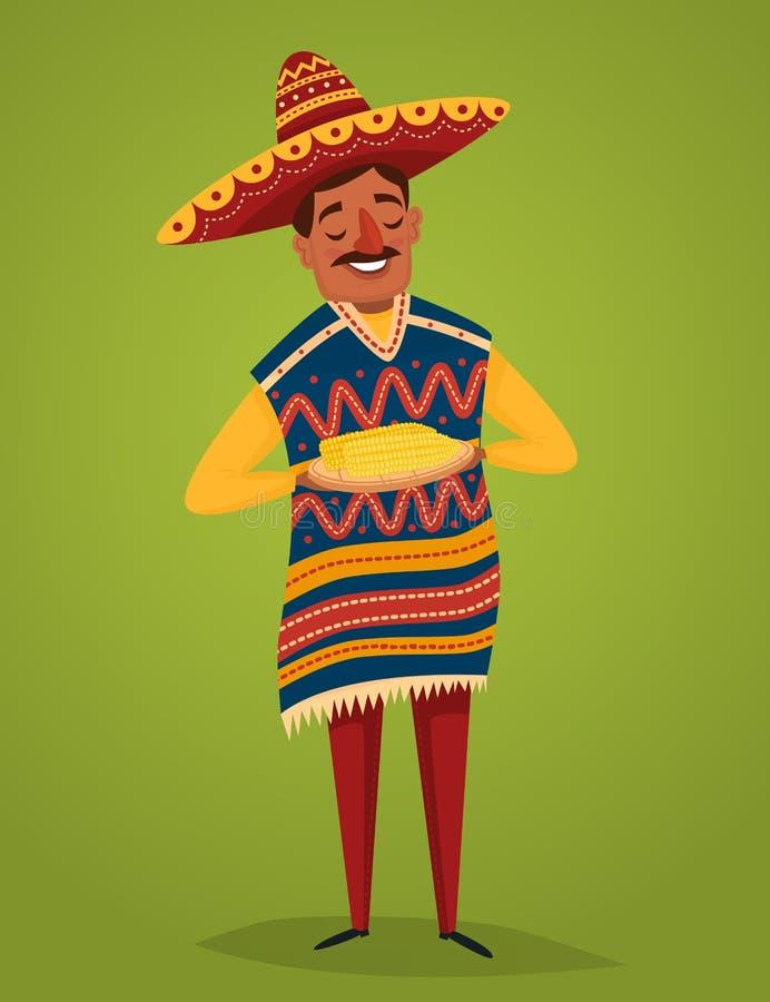 Meksykanin w krajowym kostiumu z kukurudzą, wektor royalty ilustracja