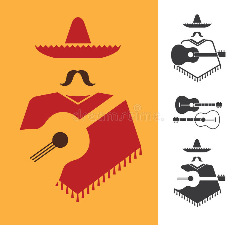 Meksykanin z gitarą ilustracja wektor
