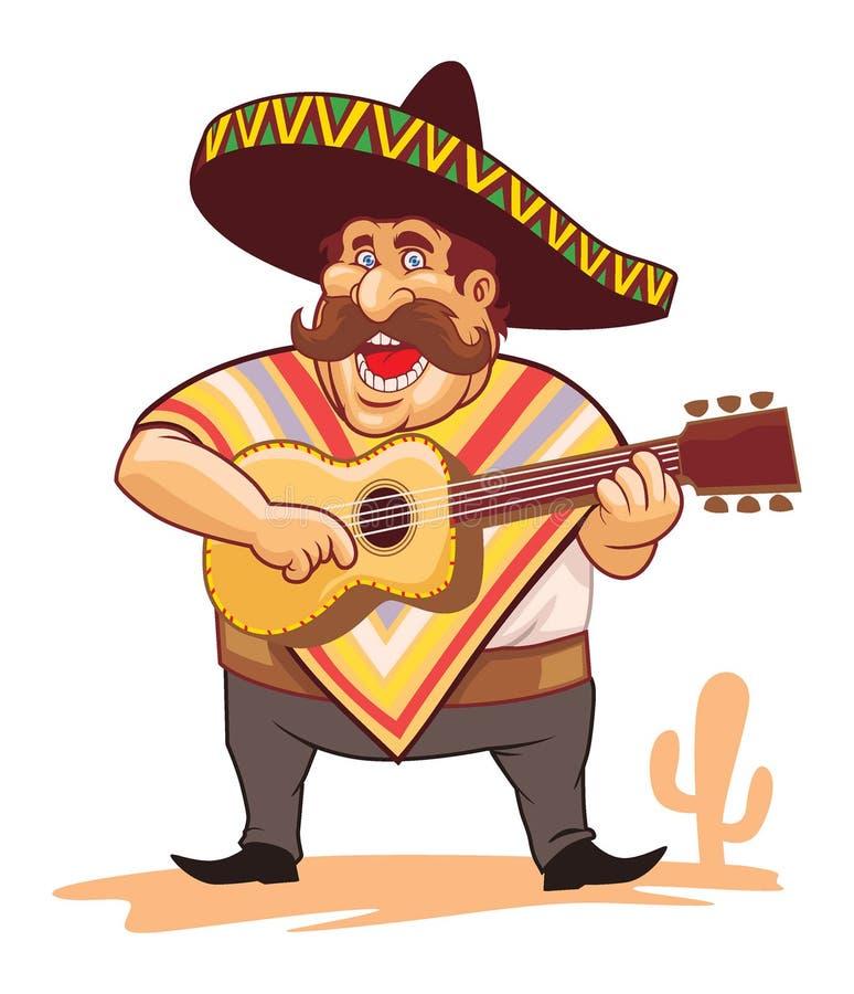 Meksykanin z sombrero i gitarą royalty ilustracja