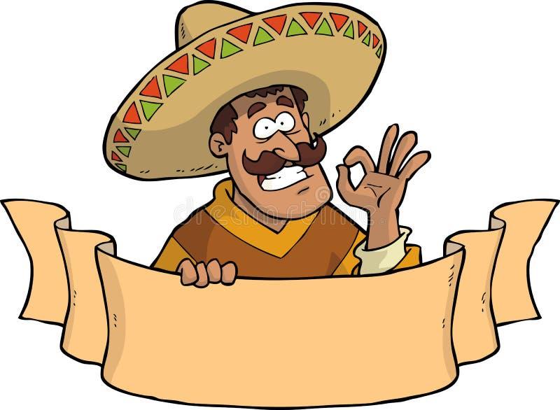 Meksykanin z sztandarem royalty ilustracja