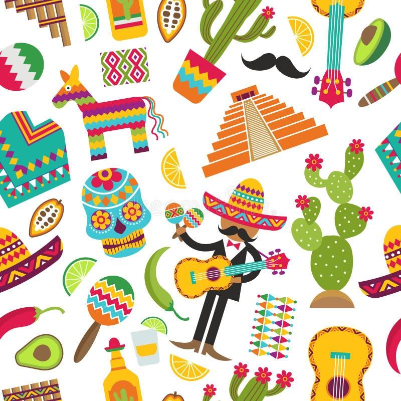 meksykanina bezszwowy deseniowy Barwioni obrazki różnorodni meksykańscy symbole ilustracja wektor