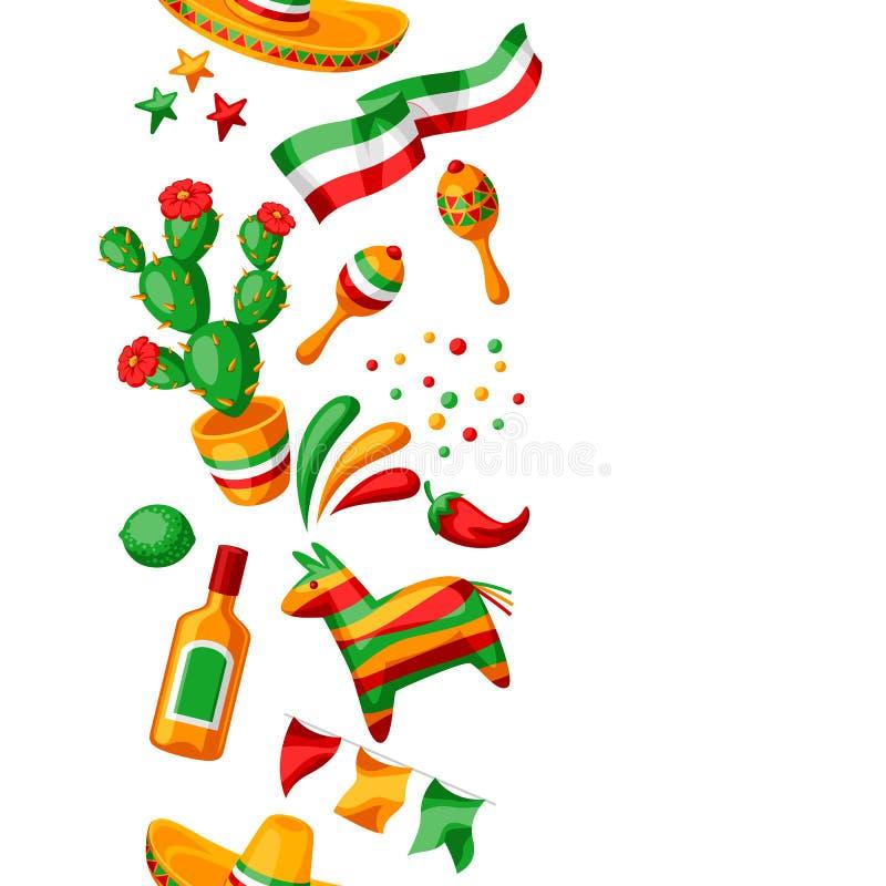 Meksykanina Cinco de Mayo bezszwowy wzór royalty ilustracja