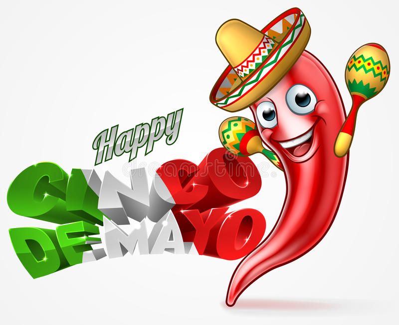 Meksykanina Cinco De Mayo chili pieprzu projekt ilustracja wektor