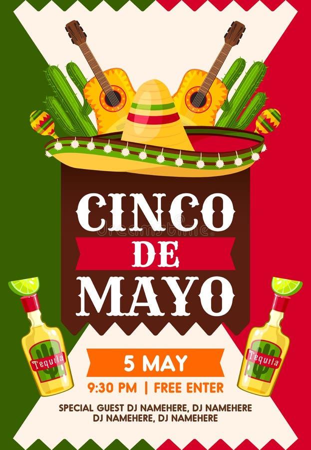 Meksykanina Cinco de Mayo fiesta przyjęcia wakacyjny sztandar royalty ilustracja