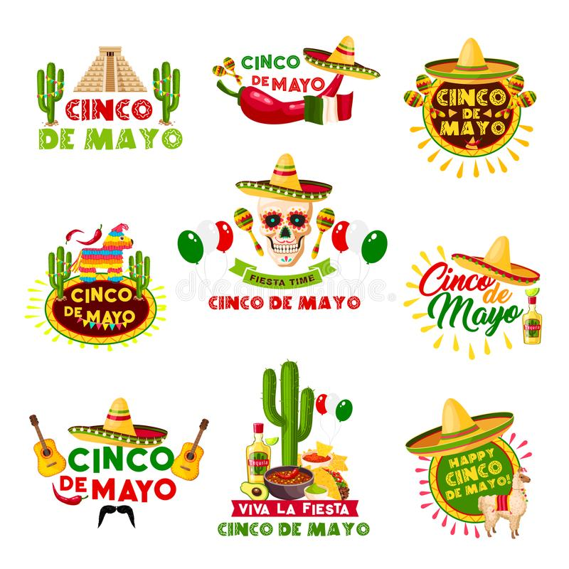 Meksykanina Cinco de Mayo Meksyk wakacyjne wektorowe ikony royalty ilustracja