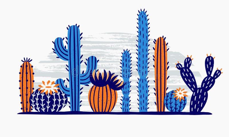 Meksykanina pustynny kaktus Kaktusy kwitną, egzotyczna ogrodowa roślina i tropikalni kaktusy kwitną odosobnioną wektorową ilustra ilustracja wektor