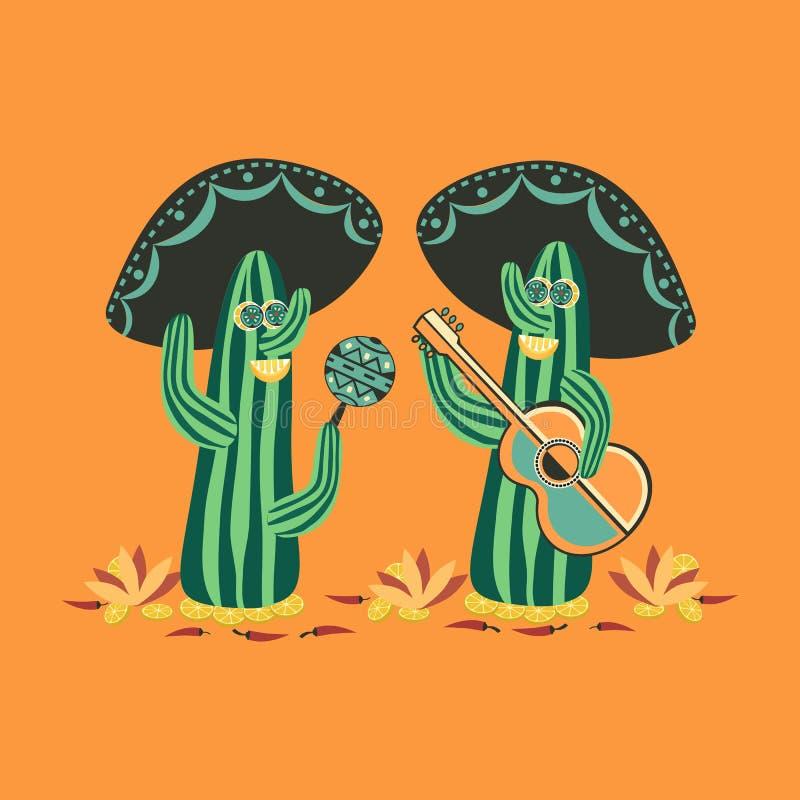Meksykanina styl kaktus śliczny ilustracja wektor