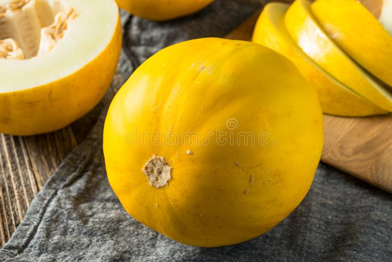 Melão amarelo orgânico amarelo cru imagens de stock royalty free