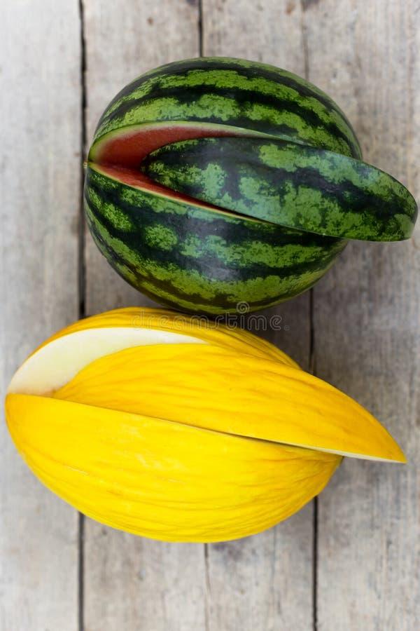 Melão da melancia e do canário fotografia de stock royalty free