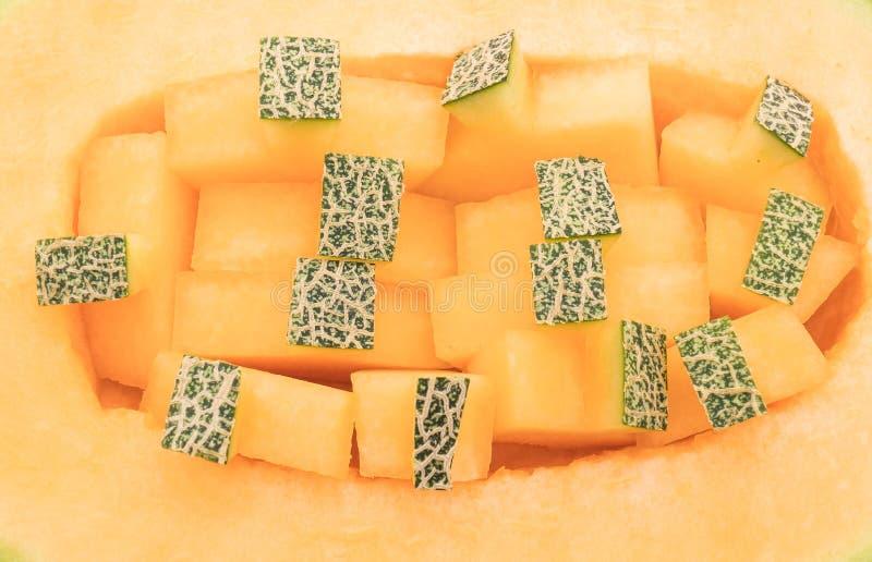Melão do Cantaloupe no branco fotos de stock royalty free