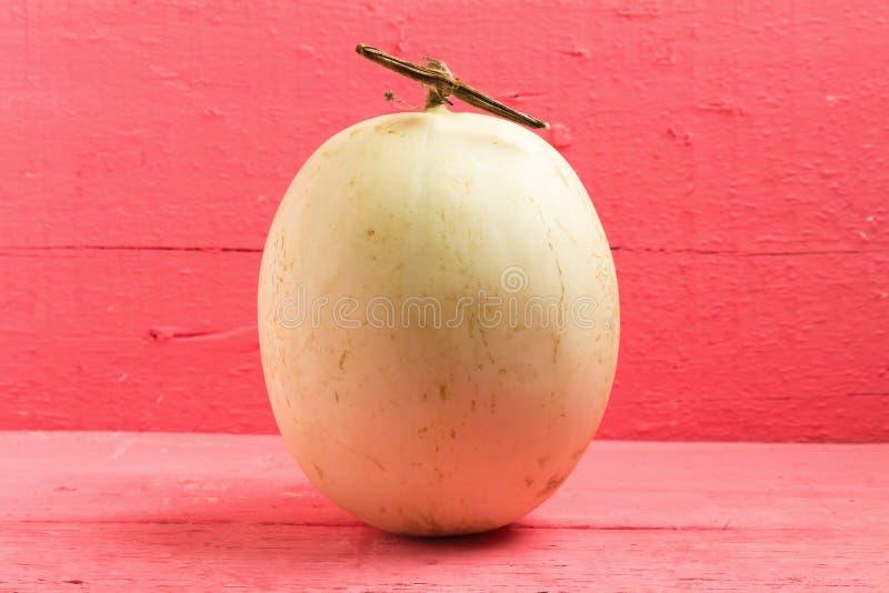 melão ( sunlady) no rosa de madeira imagem de stock royalty free