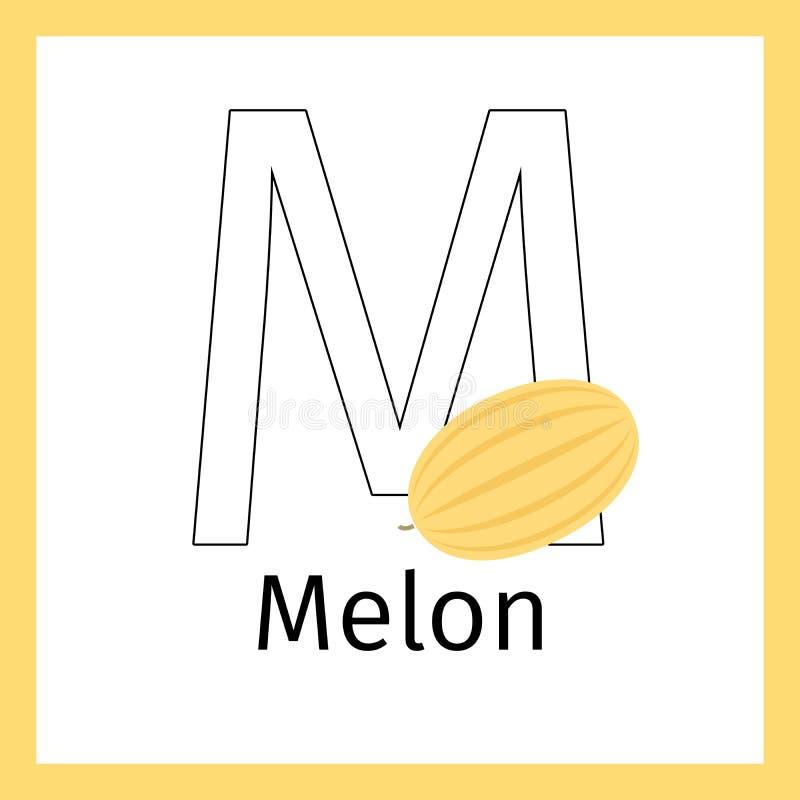 Melón Y Página Del Colorante De La Letra M Ilustración del Vector ...