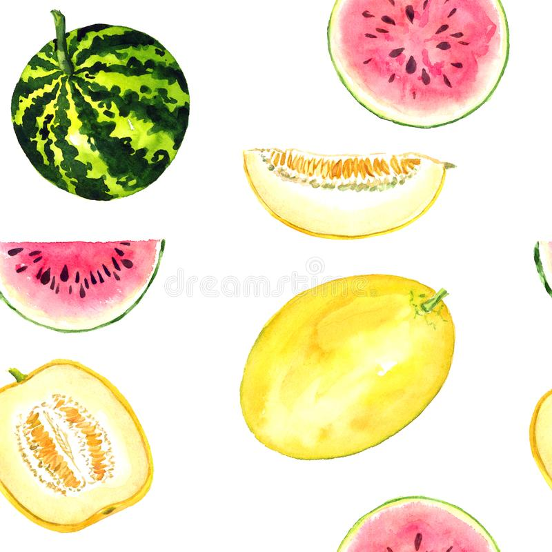 Melões maduros amarelos e melancias listradas, fatias cortadas, sem emenda ilustração stock