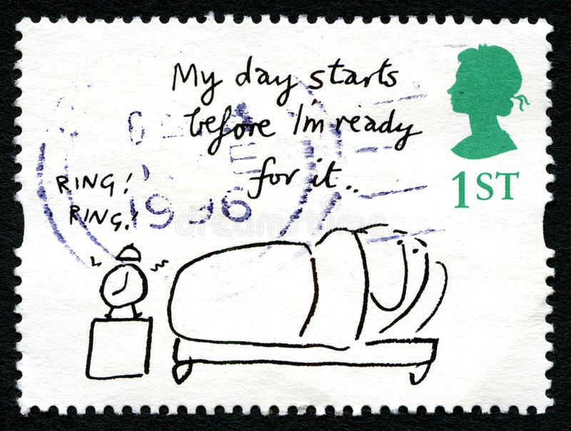 Mel Calman UK Postage Stamp. GREAT BRITAIN - CIRCA 1996: A used postage stamp from the UK, depicting a humorous cartoon by Mel Calman, circa 1996 royalty free stock image