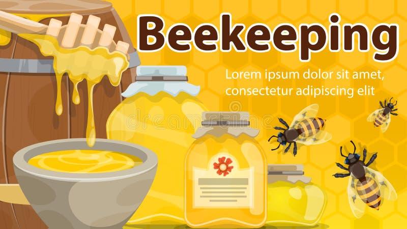 Mel e abelhas da bandeira da exploração agrícola da apicultura ilustração stock