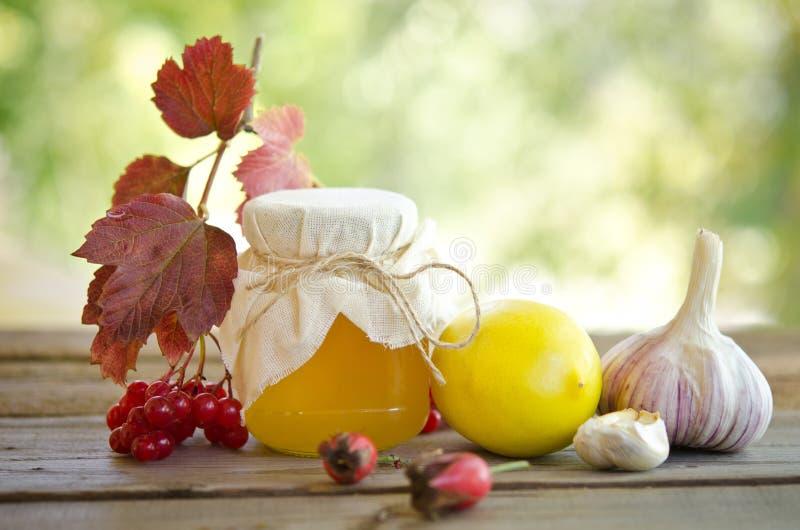 Mel e outro medicina natural para o conduto do inverno imagem de stock royalty free