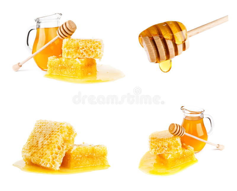 Mel fresco com o favo de mel no branco foto de stock
