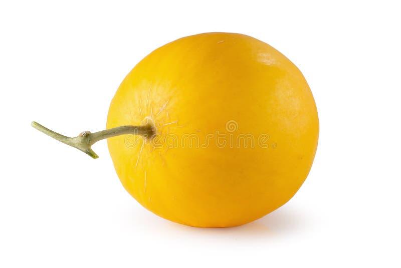 Mel?n amarillo aislado en un fondo blanco foto de archivo libre de regalías